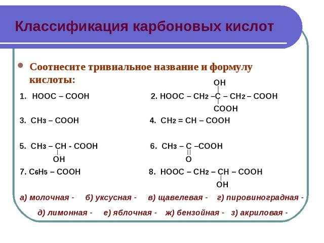 Классификация карбоновых кислот Соотнесите тривиальное название и формулу кис...
