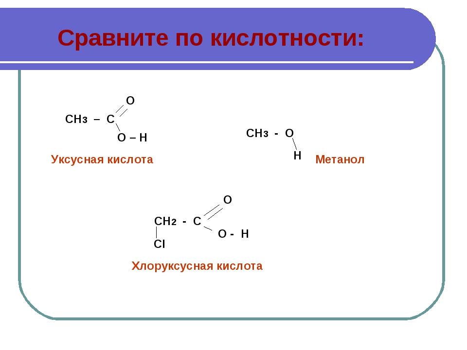 Сравните по кислотности: СН3 – С О О – Н СН3 - О Н СН2 - С СI О - Н О Уксусна...