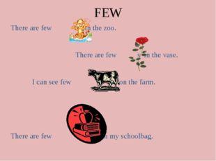 FEW There are few s in the zoo. There are few s in the vase. I can see