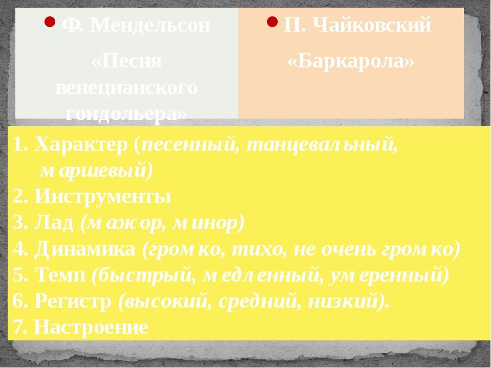 П. Чайковский «Баркарола» Ф. Мендельсон «Песня венецианского гондольера» 1. Х...