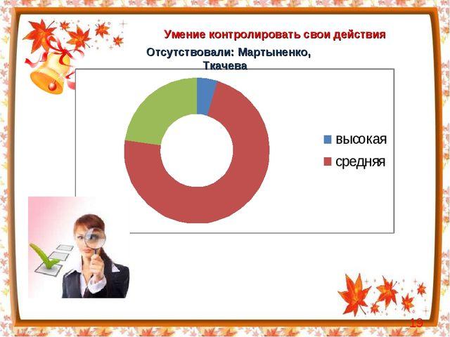 Умение контролировать свои действия * Отсутствовали: Мартыненко, Ткачева