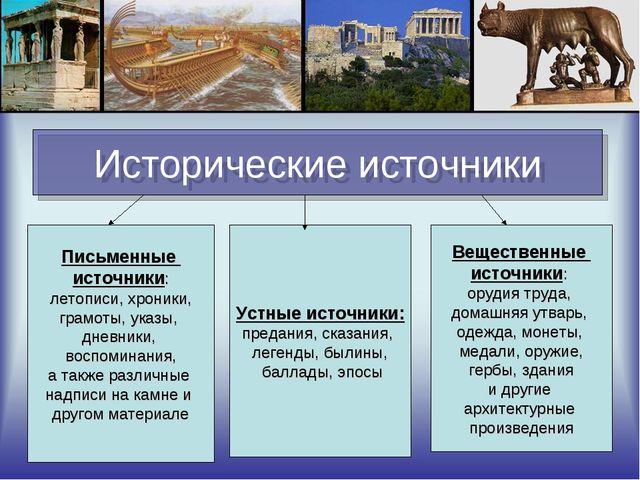 Исторические источники Письменные источники: летописи, хроники, грамоты, указ...