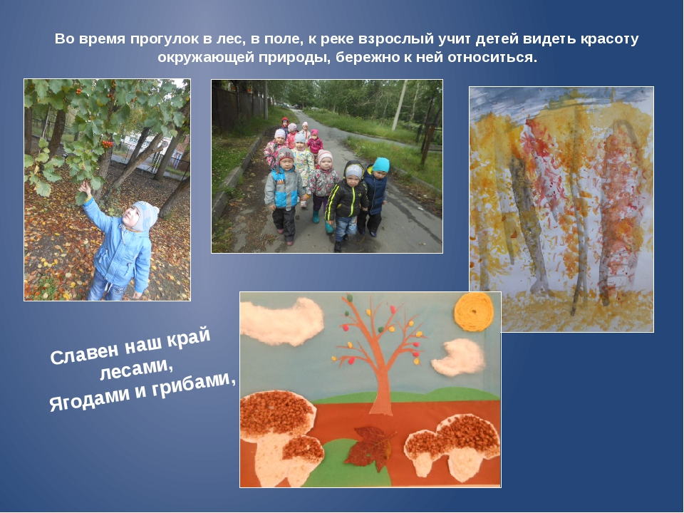 Во время прогулок в лес, в поле, к реке взрослый учит детей видеть красоту ок...