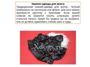 Зимняя одежда для мопса Традиционная зимняяодежда для мопса- теплый комбине