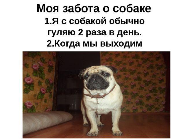 Моя забота о собаке 1.Я с собакой обычно гуляю 2 раза в день. 2.Когда мы выхо...