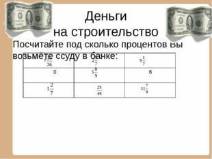 Деньги на строительство Посчитайте под сколько процентов Вы возьмёте ссуду в