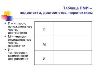 Таблица ПМИ – недостатки, достоинства, перспективы П – «плюс», положительные