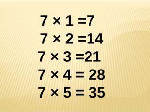 7 × 1 =7 7 × 2 =14 7 × 3 =21 7 × 4 = 28 7 × 5 = 35