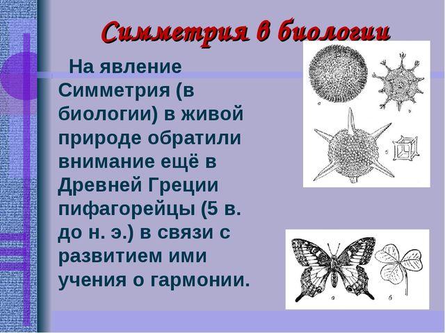 Симметрия в биологии На явление Симметрия (в биологии)в живой природе обрати...