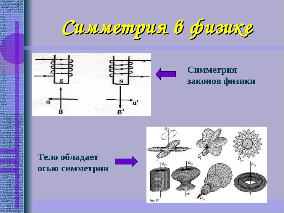 Симметрия в физике Тело обладает осью симметрии Симметрия законов физики