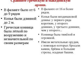 Сравните греческую и македонскую армии. В фаланге было от 6 до 9 рядов Копья