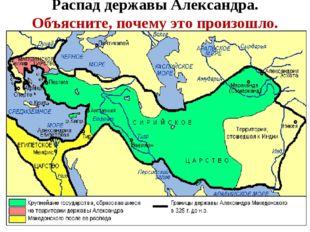 Распад державы Александра. Объясните, почему это произошло.
