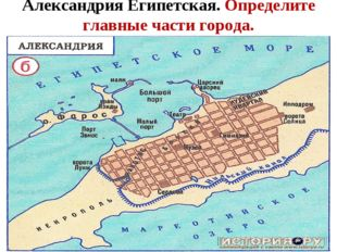 Александрия Египетская. Определите главные части города.