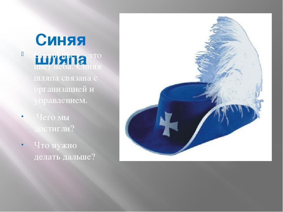Синяя шляпа Синий цвет – это цвет неба. Синяя шляпа связана с организацией...