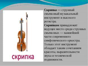 Скрипка — струнный смычковый музыкальный инструмент и высокого регистра. Скр