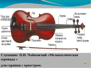 Слушание: П.И. Чайковский «Меланхолическая серенада « для скрипки с оркестром.