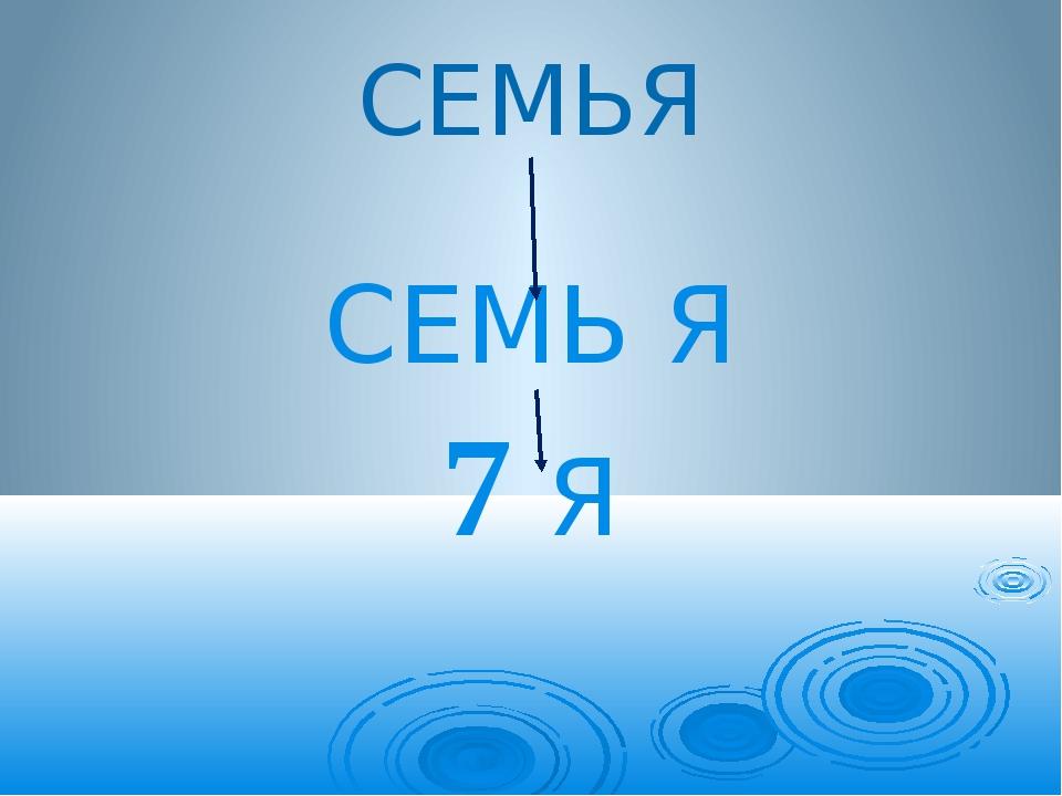 СЕМЬЯ СЕМЬ Я 7 Я