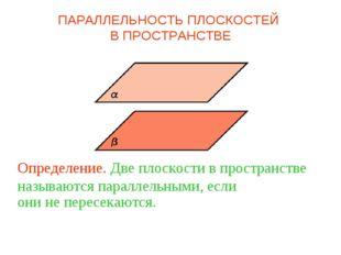 Определение. Две плоскости в пространстве называются параллельными, если они