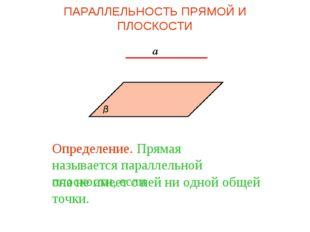 Определение. Прямая называется параллельной плоскости, если она не имеет с не