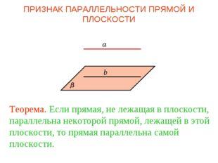 Теорема. Если прямая, не лежащая в плоскости, параллельна некоторой прямой, л