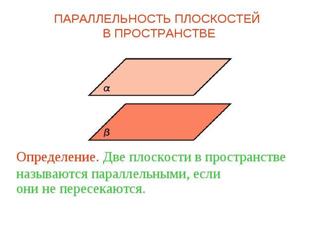 Определение. Две плоскости в пространстве называются параллельными, если они...