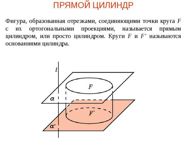ПРЯМОЙ ЦИЛИНДР Фигура, образованная отрезками, соединяющими точки круга F с и...