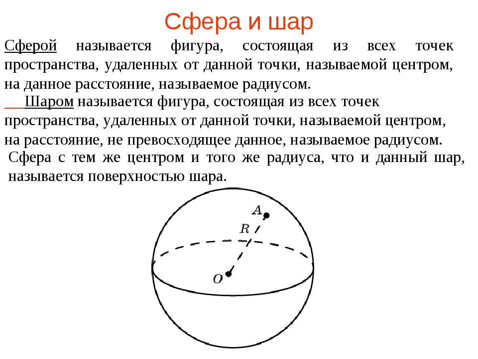 Сфера и шар Сферой называется фигура, состоящая из всех точек пространства, у...