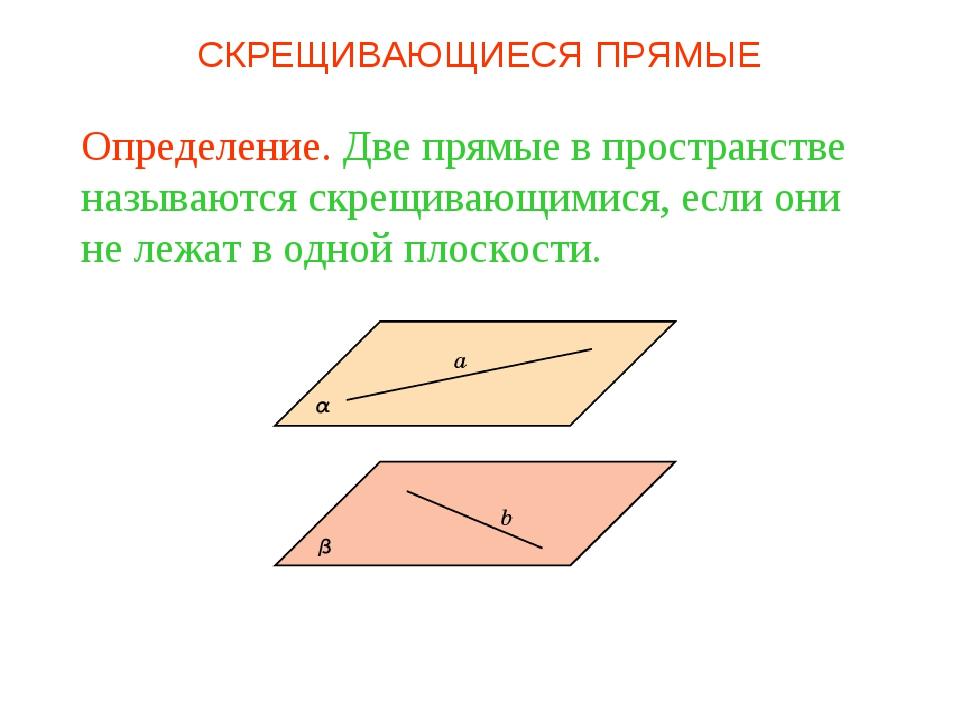 Определение. Две прямые в пространстве называются скрещивающимися, если они н...