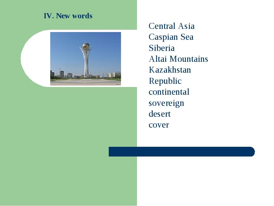 Central Asia Caspian Sea Siberia Altai Mountains Kazakhstan Republic continen...