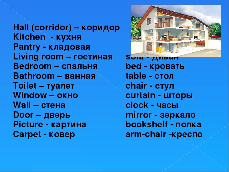 Hall (corridor) – коридор Kitchen - кухня Pantry - кладовая Living room – го...