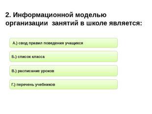 2. Информационной моделью организации занятий в школе является: Б.) список кл