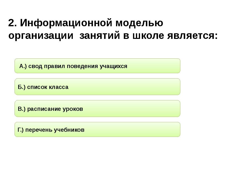 2. Информационной моделью организации занятий в школе является: Б.) список кл...