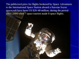 The publicized price for flights brokered by Space Adventures to the Internat