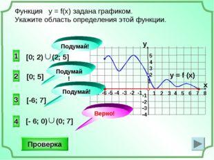 -1 -2 -3 -4 2 1 3 Функция у = f(x) задана графиком. Укажите область определен