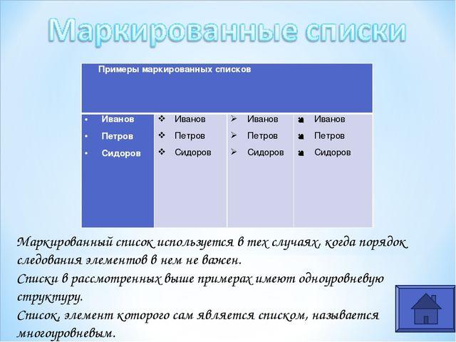 Маркированный список используется в тех случаях, когда порядок следования эле...