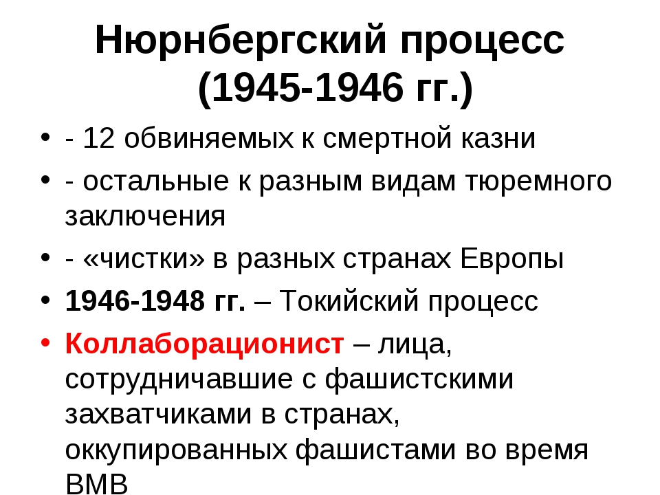 Нюрнбергский процесс (1945-1946 гг.) - 12 обвиняемых к смертной казни - остал...