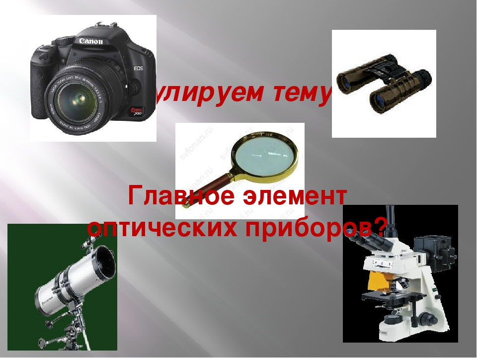 Сформулируем тему урока! Главное элемент оптических приборов?