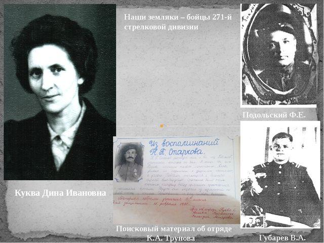Куква Дина Ивановна Наши земляки – бойцы 271-й стрелковой дивизии Подольский...