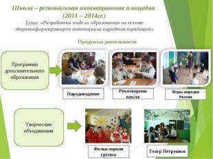 Школа – региональная инновационная площадка (2011 – 2014гг.) Тема: «Разработ