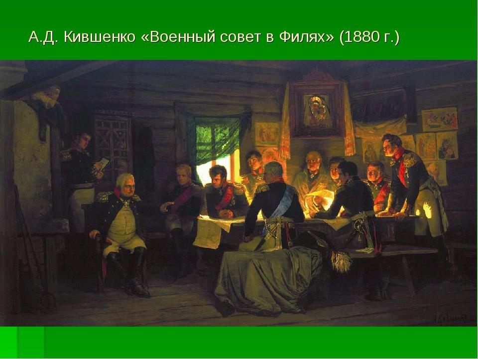 А.Д. Кившенко «Военный совет в Филях» (1880 г.)