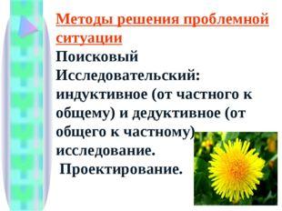 Методы решения проблемной ситуации Поисковый Исследовательский: индуктивное (