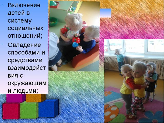 Включение детей в систему социальных отношений; Овладение способами и средст...