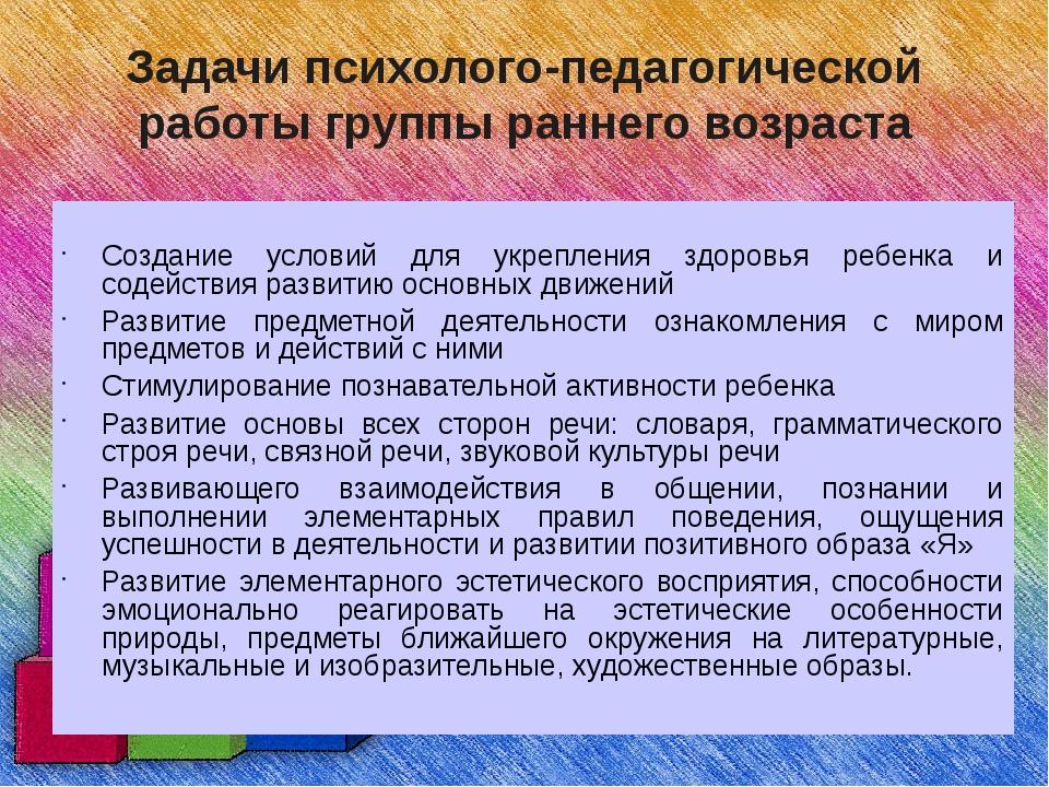 Задачи психолого-педагогической работы группы раннего возраста Создание услов...