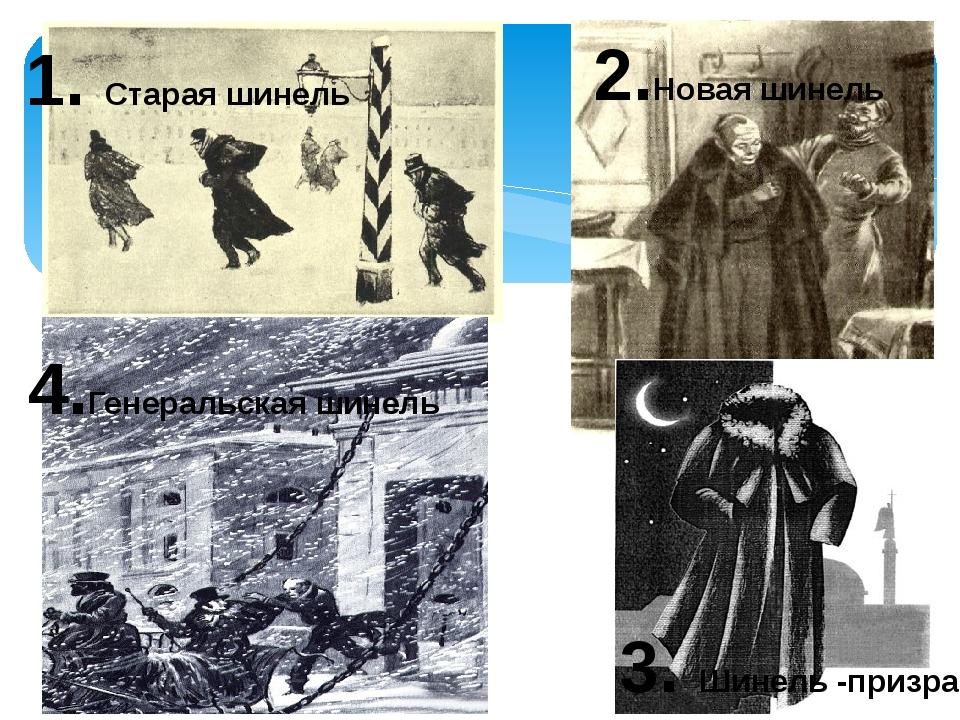 1. Старая шинель 2.Новая шинель 3. Шинель -призрак 4.Генеральская шинель