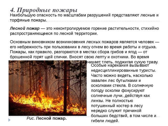 4. Природные пожары Наибольшую опасность по масштабам разрушений представляют...
