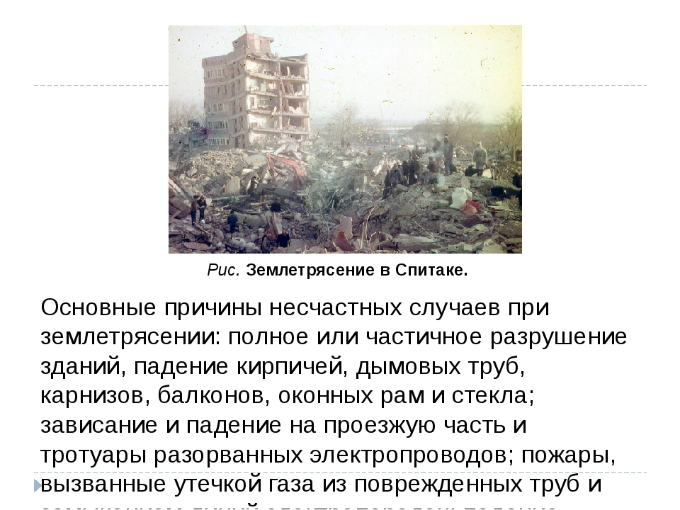 Основные причины несчастных случаев при землетрясении: полное или частичное р...
