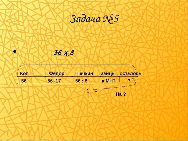 Задача № 5 36 х 8 Кот Фёдор Печкин зайцы осталось 56 56 -17 56 : 8 к.М+П ? ?...