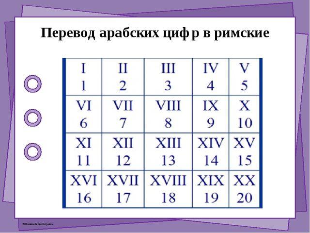 Перевод арабских цифр в римские © Фокина Лидия Петровна