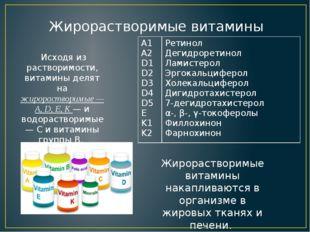 Исходя из растворимости, витамины делят на жирорастворимые — A, D, E, K — и