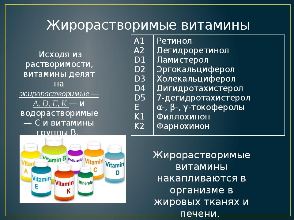 Исходя из растворимости, витамины делят на жирорастворимые — A, D, E, K — и...